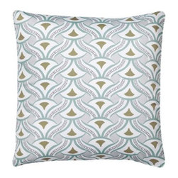 Serena & Lily - Nico Euro Sham - All the sophisticated geometry of Art Deco textiles with exotic hints of Chinoiserie. Serena's latest design for the master is a beautiful way to introduce subtle color and pattern without overpowering the room. The palette is quiet yet rich, drawing from the natural world in shades of earthy grey, mossy green and deep aqua.