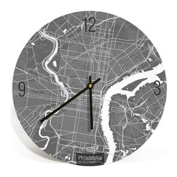 "ArtnWalls - PHILADELPHA MAP ART Wall Clock-Unique Contemporary Art Wall clock -16"" Diameter - Abstract Philadelphia, PA, map art - Features the streets of the city of brotherly love."
