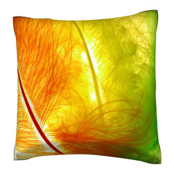 Custom Photo Factory - Colorful Feathers Close-Up Pillow.  Polyester Velour Throw Pillow - Colorful Feathers Close-Up Pillow. 18 Inches x 18  Inches.  Made in Los Angeles, CA, Set includes: One (1) pillow. Pattern: Full color dye sublimation art print. Cover closure: Concealed zipper. Cover materials: 100-percent polyester velour. Fill materials: Non-allergenic 100-percent polyester. Pillow shape: Square. Dimensions: 18.45 inches wide x 18.45 inches long. Care instructions: Machine washable