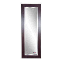 Rayne Mirrors - American Made Brown Leather 21.5 x 60.5 Slender Beveled Body Mirror - This warm, contemporary leather tall mirror makes a wonderful home decor accent. This design features a rectangle frame with a dark brown leather finish.  Each Rayne mirror is hand crafted and made to order with American products.  All hardware included for vertical or horizontal hanging, or perfect to lean against a wall.