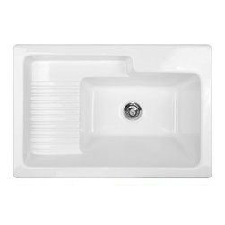 CorStone - CorStone 65100 White Hamilton Hamilton Self Rim Laundry Sink with - Hamilton Self Rim Laundry Sink with recessed DrainboardCorStone  Model 65 Hamilton Self Rim Laundry/Utility Sink from the Advantage Series- is made from superior grade acrylic. The Hamilton is a welcome addition for todayÂ's laundry or utility room because of the extra deep bowl, built-in drainboard and extra-large recessed shelf. This sink is large enough to handle any heavy-duty job. Thick, durable acrylic surface gives a high impact resistance and prevents marking and chipping. Permanent high gloss sink, that will not discolor or rust. NAHB and CSA certified quality. 3.2 Cast Acrylic.Lightweight and easy to installEasy care with soap and water100% stain resistant, will not discolor or rust