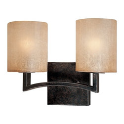 Troy Lighting - Troy Lighting Austin 2-light Bath Vanity - Made of hand-worked wrought iron and glass. Comes in antique bronze and sunrise glass.