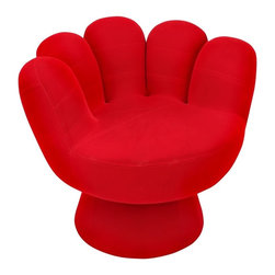 LUMISOURCE - Lumisource Mitt Chair, Red - Shaped like a glove and brightly colored, this fun occasional furniture piece, is ideal for kids, teens and adults who want to bring back the child inside. The chair is upholstered with a plush, easy-to-clean fabric.