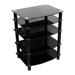 """Walker Edison - Black Glass Audio & Media Stand - Sleek and modern, this media stand houses all of your audio, visual, and multimedia accessories that you could have within its multi-tiered contemporary design.  The black glass surfaces are attractive and distinctive.  Matching black legs provide structural dependability. * Stylish modern design. Interchangeable shelf heights of approximately 5"""", 7"""", 8"""", and 9"""". Any number of shelves may also be excluded offering stand heights ranging from 3"""" - 35"""". Black powder coated steel legs . All panes of tempered safety glass are silk screened with a black coating allowing chrome glass mounts to shine through for a distinctive look. Beveled tempered safety glass. Sturdy construction. One solid piece once assembled. Unit comes with both black and chrome decorative ring sets (black rings shown). Ample storage space for AV components. Top shelf is 8mm thick with a weight capacity of 250 lbs. Lower shelves are 6mm thick. Ships Ready-To-Assemble with all necessary tools. 26 in. W x 19 in. D x 4-35 in. H"""