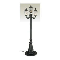 Patio Living Concepts - Three Lamp Patio Lighting with Sand Bottom (Black) - Color: Black. Offering an old world charm with modern innovation, this particular lamp post is quite the handsome piece to bring together your exterior design scheme.  Choose between white and black to bring a bit of extra panache to your patio.  You'll want to take a midnight stroll just to wander beneath the classic old-Parisian style illumination of this luxurious post lamp.  Black or white textured body finish offer choices to accentuate your patio, garden or walkways with four 60-watt bulbs of illumination.  This lovely lantern style park light is a nice way to bring some light to your patio, garden, or outdoor living area. * 10 ft. grounded cord and plug. Holds 40 lbs of sand in plastic Base/Post. Sand not included. 4-60 watt bulbs maximum. two level dimming switches. unbreakable polycarbonate lantern globes. Textured body finish. Gather up some friends and family and enjoy unforgettable moments lit by your old Parisian-style Outdoor Lamp Post w/ 3 Lights.   Behold the beauty and refinement of expert craftsmanship, innovation and century's old elegance with this timeless piece. 17 x 22 x 27. 85 tall. 22 diameter Base