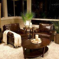 Elements Fine Home Furnishings - Leather Club Chairs in Coffee Bean - BRA-2PC-SC - Set includes: 2 Standard Chairs