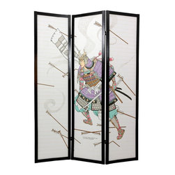 Oriental Unlimited - 6 ft. Tall Samurai Shoji Screen in Black Finish (3 Panels) - Choose No. of Panels: 3 PanelsTo create an elegant Asian inspired setting, introduce this multi panel Shoji privacy screen into your space. Its strong rice paper shade allows diffused light while offering complete privacy, while the beautifully incorporated woodblock style Samurai design in full armor instantly transforms your room. Use as an accent piece, a room divider or a privacy screen. Screens may vary slightly in color. A matchstick room divider with a powerful Japanese woodblock style image. A samurai warrior in full armor, sword drawn and charging into a hail of arrows printed on the front of the shade. Display as an art screen. Display for privacy and to define space. Crafted from durable, lightweight Scandinavian spruce. Crafted using Asian style mortise and tenon joinery. Fold slightly to stand upright. Shade is strong. Fiber reinforced. Pressed pulp rice paper allows diffused light yet provides complete privacy. Lacquered brass, 2-way hinges mean you can bend the panels in either direction. Pattern repeats every 3 panels. Black finish. Assembly required. Each panel: 17.5 in W x .75 in. D x 72 in. H. 3-Panel screen: 53 in. wide (flat); 45 in. wide (panels folded)