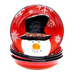 Certified International - Certified International Top Hat Snowman Set of 4 Soup/Pasta Bowl - Bring holiday cheer to the table with this charming winter scene. A snowman in a top hat is hand painted on lead free ceramic in these adorable bowls.