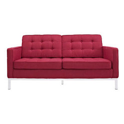Florence Style Loveseat in Red Tweed