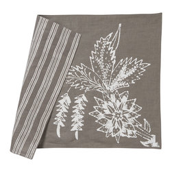 Cricket Radio - Indochine Paradise Placemat, Set of 2, Stone/White - It's time to turn the tables. This set of two pre-shrunk linen placemats features printed flowers on front and simple stripes on back so you can add at least two new looks to your dining or breakfast table. And they come in several colors so you can mix or match your way to easy style.