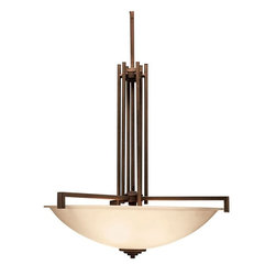 "BUILDER - KICHLER 3299OZ Eileen Soft Contemporary / Casual Lifestyle Inverted Pendant Ligh - Named after famed furniture designer Eileen Gray, The Eileen Collection features a clean, straight linear construction with simple glass for a style that is as unique and contemporary as Eileen Gray's. The warm, antique elegance of our Olde Bronze finish complements the umber etched glass perfectly to give the Eileen Collection added ambiance that is ideal for today's ever-evolving aesthetic. It comes complete with 88"" of lead wire for easy installation."