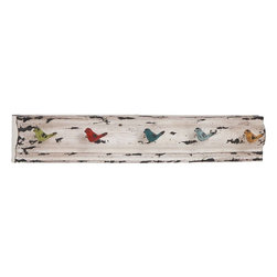 Benzara - Wall Hook with White Finish and Distressed Accents - Crafted with care, this Wood Metal Wall Hook 26 in. W, 4 in. H offers a perfect combination of finesse and functionality. The elegant wall hook has a slender, lightweight design which allows easy installation on walls. This metal hook flaunts a multicolored style and feature dainty bird motifs for a charming appeal. Ideal for keeping scarves, jackets, hats and other essentials within reach, this wall hook can be incorporated in living room entryways or along the bedroom door for convenience. Detailed with a white finish and distressed accents, this wall hook complements any casual decor setup. Crafted from premium grade metal, this wall hook features solid metal hooks for added durability and hassle-free usage. This is a wonderful choice of gift for someone special interested in collecting a variety of hooks.