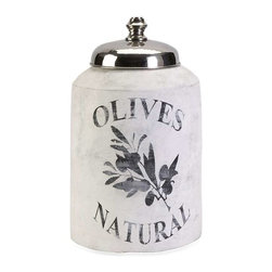 Small Olive Jar with Nickel Lid - This small decorative lidded jar is made from terracotta and features an antiqued white finish and olive branch graphic.