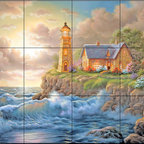The Tile Mural Store (USA) - Tile Mural - Beacon Of Hope  - Kitchen Backsplash Ideas - This beautiful artwork by Judy Gibson has been digitally reproduced for tiles and depicts a lighhouse scene.  Our lighthouse tile murals and nautical themed decorative tiles are perfect as part of your kitchen backsplash tile project or your tub and shower surround bathroom tile project. Lighthouse images on tiles add a unique element to your tiling project and are a great kitchen backsplash idea. Use a lighthouse scene tile mural for a wall tile project in any room in your home where you want to add interest to a plain field of wall tile.