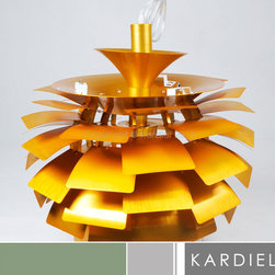 "Kardiel Artichoke Style Lamp - Copper - 23.6"" Diameter - Poul Henningsen's most famous contribution to society is probably the Artichoke Lamp, a spherical, plant-like form. Also known as the PH Lamp, it was created in 1958 and expressed his enthusiasm for ""functionalism"" and the ""natural living"" that he advocated so passionately. Poul's accomplished goal was the creation of the contemporary organic design of the artichoke lamp, functioning to diffuse the harsh elements of the electric interior hanging lamp. The original design was commissioned for use inside the Restaurant ""Langeline Pavalion"" which is located in Copenhagen. If you are in Copenhagen and visit the Restaurant, they are still hanging to this day. Another gorgeous case of form meets function. Modern and classic simultaneously, there's no decorating scheme that this lamp won't illuminate. This Contemporary Chandelier is a highly detailed, hand-crafted reproduction of the original Artichoke pendant lamp. The Artichoke Lamp was designed in 1958 by Poul Henningsen who is now recognized as the first ""lighting architect."" True to the original, the 23.62 inches diameter of the lamp consists of 12 arches and 11 rows of leaves. Each row features 6 Hand guided laser cut ""leaves"". The first four rows of leaves progressively increase in dimension size. The remaining 7 rows contain the largest leave size and are consistent. The total 66 lucent like ""leaves"" appear to unfold into the classic ""artichoke"" form, capturing the light from within and softly dispensing it back into the room. Each leaf is offset diffusing the source of the direct light and providing for an indirect glow of light which emanates from the center of the lamp. No other Chandelier pendant lamp design quite duplicates the pleasing indirect. Now you can own your very own version of the Artichoke that is easily recognized worldwide as the Modern Classic Icon in lighting."