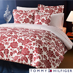 Tommy Hilfiger - Tommy Hilfiger Smithfield Floral 3-piece Duvet Cover Set - The Tommy Hilfiger Smithfield Floral Duvet Cover Set features a brilliant red floral on white background that reverses to attractive orderly stripes. The comfy cotton set is machine washable for easy cleaning convenience.