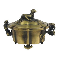 "Golden Lotus - Chinese Handmade Foo Dog Handles Bronze Incense Burner - Dimensions:   Diameter 6"" x h4.5"""