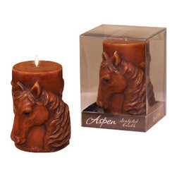 Deco Glow - Sculpted Horse Pillar Candle, Set of 6 Small - Rustic  sculpted  candle  with  a  horse  motif.  Each  candle  comes  encased  in  a  plastic  box  for  gift-giving.  These  small  wax  pillar  candles  will  make  a  unique  addition  to  your  western  or  equestrian  decor.  A  great  novelty  gift  for  the  western  enthusiast.