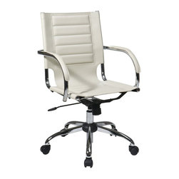 Avenue Six - Avenue Six Trinidad Office Chair With Fixed Padded Arms and Chrome in Cream - Avenue Six - Office Chairs - TND941ACRM - Featuring contour seat and back with built-in lumbar support Trinidad Office Chair is here to brighten up your day. With its locking tilt control adjustable tilt tension and one touch pneumatic seat height adjustment this chair offers unique comfort and style. Heavy duty chrome base and dual wheel carpet casters for easy mobility.