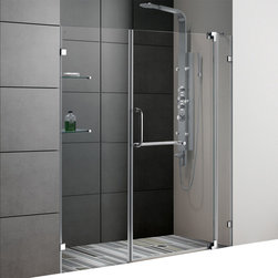 Vigo - 66in.  Frameless Shower Door 3/8in.  Clear Glass Chrome Hardware - Experience fine quality combined with superior design in a VIGO frameless shower door.