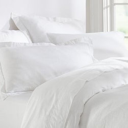Linen Solid Duvet Cover, King/Cal. King, White - Sewn of pure linen for a crispness and luster distinctive to this natural fiber, our duvet cover is exceptionally durable and provides a fresh, cool feel on warmer nights. Made of pure linen. Duvet cover and sham reverse to the same design. Yarn dyed for vibrant, lasting color. Duvet cover and sham have button closures. Duvet cover, sham and insert sold separately. Machine wash. Imported.