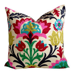 Floral pillow cover, multi colors, damask, Desert Flower Santa Maria with Zipper - Throw pillow cover, fits one 18 inch square throw pillow.