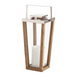 "Arteriors - Arteriors Home - Zeke Small Steel Lantern - 6710 - Elegant yet casual natural wood and clear glass lantern accented with stainless steel. Features: Zeke Collection Small Steel LanternClearNaturalPolished Nickel Some Assembly Required. Dimensions: W 12"" x D 10"" x H 21"""