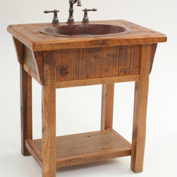 Reclaimed Wood Country Farm Vanity - Reclaimed barn wood planks and beams are handcrafted into beautiful vanities. This design as all of our designs are available in custom sizes to fit your space. Visit Woodland Creek Furniture at www.woodlandcreekfurniture.com to see many more unique designs.