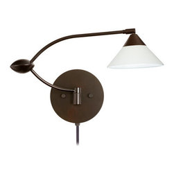Besa Lighting - Besa Lighting 1WU-117607-CP Kona 1 Light Swing Arm Halogen Wall Sconce - The Kona pendant features a wide cone-shaped glass, that demonstrates contemporary sensibilities. Our White glass is a soft white cased glass that can suit any classic or modern decor. White has a very tranquil glow that is pleasing in appearance. The smooth satin finish on the clear outer layer is a result of an extensive etching process. This blown glass is handcrafted by a skilled artisan, utilizing century-old techniques passed down from generation to generation. The swing arm fixture includes a 12V electronic transformer and integrated full-range rotary dimmer. The adjustable arm assembly allows for 155 degree rotation and pivots at the clamshell-shaped center connection.Features: