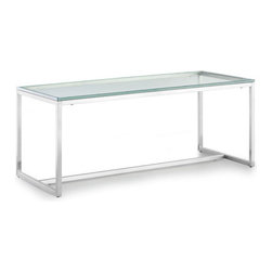 Zuo Modern - Sprocket Coffee Table Clear Glass - Add a fresh look to your home decor with our Sprocket Coffee Table. This contemporary piece also highlights a durable metal frame design with a brushed steel finish. It's the perfect coffee table to compliment any living room.