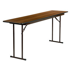 """Flash Furniture - 18'' x 72'' Rectangular Walnut Melamine Laminate Folding Training Table - This wood folding table is very useful since it can be instantly stored and is easy to carry at the same time. This table is great for use in hotels, banquet rooms, training rooms and seminar settings. Not only is this table durable enough for the everyday rigors of commercial use this table can be used in the home when it comes to setting up your own personal party plans. Rectangular Wood Folding Table; Training Style Table; .625"""" Thick Melamine Laminate Walnut Top; Black T-Mold Edge Band; Black Powder Coated Legs; 18 Gauge Steel Legs; Non-Marring Foot Caps; No Assembly Required; Overall dimensions: 18""""W x 72""""D x 29.25""""H"""