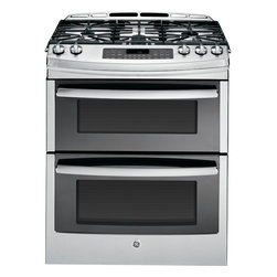 GE Profile™ Series Gas Double Oven Range with Convection Range - We've reimagined our gas ranges to add beauty to your kitchen and give you the control and flexibility you need to create amazing meals.  The versatile tri-ring burner on the new GE gas range allows you to gently melt butter, gradually reduce a sauce, or quickly boil, with up to 19,000 BTUs of power.