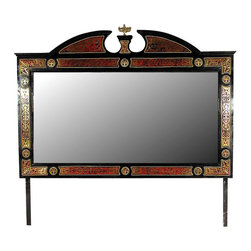 MBW Furniture - Black French Boulle Marquetry Mirror - This is a gorgeous 6.5ft black *Boulle buffet wall hanging mirror. The mirror is beveled and it features a gorgeous frame that is richly embellished with inlaid brass foliage designs above beautiful scarlet and black finish and it has distinguished split & scalloped pediment adorned with foliage inlaid designs and an antiqued brass motif. The frame has minor imperfections but as shown they are not distracting at all. Hanging hardware not included. From the elegant design to quality build this piece of furniture will bring many years of convenience and pleasure to your home.