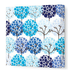"""Avalisa - Imagination - Park Stretched Wall Art, 28"""" x 28"""", Blue - To inspire your little one's imagination and encourage his love of nature, simply hang this stretched wall art in his favorite space. Delicate trees with bubbly blooms are guaranteed to bring smiles and sweet daydreams."""