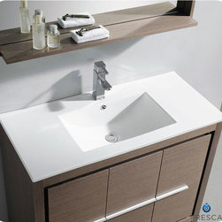 "Fresca - Fresca Allier 40"" Modern Single Sink Vanity Set w/ Mirror - The Fresca 40"" Allier is a sleek, modern free standing vanity with plenty of storage space. This model is accented nicely with a matching mirror with small shelf. Optional side cabinets are available. Many faucet styles to choose from."