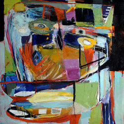 """On The Move (Original) by Reinder Oldenburger - This colorful painting titled 'On the Move' is 22x26 inches, oil on canvas. It comes stretched and ready to hang. This piece is signed and dated on the back. I painted this work in September 2014, New York. Will ship carefully packed in a box. Certificate of Authenticity is included. """"Vango best deal"""" - this piece is not offered for less anywhere else."""