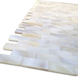 Serene White Bricks Pearls Glass Pattern Tile