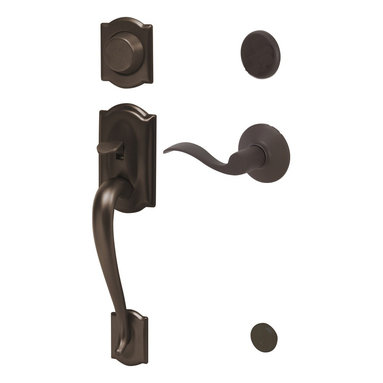 """Schlage - Camelot Handleset w Accent Interior Lever Lef - Manufacturer SKU: F93 CAM 716 ACC LH. Handle Type: Handleset. Dummy function includes a handleset grip, interrior knob or lever and non-functioning deadbolt; does not lock. Patented adjustable through-bolt allows easy installation; retrofits existing doors. Universal knob works for right or left handed doors. Limited Lifetime Mechanical and Finish Warranty. Coordinate with other Accent Aged Bronze products. High quality materials and construction used for a longer life and brilliant finish. Designed for standard door prep (fits existing pre-drilled holes). Universal latch adjusts to fit 2-3/8"""" or 2-3/4"""". Fits 1-3/8"""" to 1-3/4"""" wood or metal doors. Shown in Aged Bronze. 2.9 in. L x 3 in. W x 12.9 in. H (5.2 lbs)"""