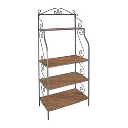 Austine Bakers Rack with Wood Shelves - This rack is related to the Austine Bakers Rack with Glass Shelves (shown) but instead of glass the shelves are made of solid wood in your choice of finishes. This rack has a strong steel frame that is also available in multiple finishes so you can choose your wood and frame colors and make the ideal rack to match your home. The top shelf measures 9 inches deep and the other 3 shelves are 18 inches in depth. This bakers rack is made in the U.S.A. Most Popular Choice: Satin Black Finish with Bleached Wood ShelvesImportant Dimensions:Outside Dimensions: 36W x 18D x 77H inchesInside Dimensions: 34.5W x 18D inchesTop Shelf: 34.5W x 10.5D inchesSecond third & fourth shelves: 16.5D inchesTop Shelf to second shelf: 23.5 inchesSpace between bottom 3 shelves: 14 inchesSpace between floor and bottom shelf: 6 inches