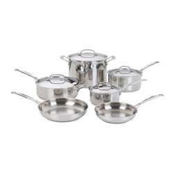 Cuisinart - Chef's Classic Stainless Steel 10-Piece Cookware Set - The kitchens of France were the inspiration behind the elegant Cuisinart Chef''s Classic Stainless Cookware Collection. Chef''s Classic features 18/10 stainless steel and pure aluminum encapsulated in the base for fast and even heating. We guarantee it with a limited lifetime warranty. Includes: -1.5-Quart Saucepan with Cover. -3-Quart Saucepan with Cover. -3.5-Quart Saut pan with helper handle and cover. -8'' Open Skillet. -10'' Open Skillet. -8-Quart Stockpot with Cover. Features: -Unsurpassed Heat Distribution: Aluminum encapsulated base heats quickly and spreads heat evenly - Eliminates hot spots.-Cool Grip Handle: Solid stainless steel riveted handle stays cool on the stovetop. A helper handle provides extra support and balance when lifting and pouring.-Drip-Free Pouring:Rim is tapered for drip-free pouring.-Flavor Lock Lid: Tightfitting cover seals in moisture and nutrients for healthier, more flavorful results, every time you cook.-Chef''s Choice Stainless:18/10 mirror finish Classic looks, professional performance.-Stainless Steel for Professional Results: 18/10 stainless steel cooking surface does not discolor, react with food or alter flavors. Great for classic cooking techniques like slow simmers, rolling boils and reduction of liquids.-Dishwasher Safe: Premium 18/10 stainless steel easily cleans to original brilliant finish.-Collection: Chef's Classic Stainless Cookware.-Distressed: No.Dimensions: -Overall Product Weight: 23 lbs.Warranty: -Limited lifetime warranty.