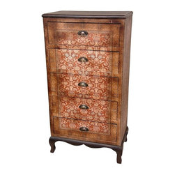 Oriental Unlimited - 5-Drawer Olde-Worlde Chest - Excellent quality construction and materials. Excellent quality joinery and cabinetry. Beautiful European decorative design on wonderfully textured and durable faux leather. Subtle and elegant colors accented by Black lacquered Queen Anne legs and apron. No assembly required. 24 in. W x 14.5 in. D x 45.5 in. H (62.5 lbs.). Drawer: 20.25 in. W x 12.5 in. D x 6 in. H
