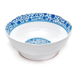 """12"""" Heritage Round Hammered Bowl - Blue and White Textured Bowl"""