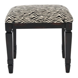 Safavieh - Gertie Small Bench - Inspired by the lush, exotic environs of the safari, the Gertie Small bench carries just the right amount of whimsy and imagination. Its bold zebra striped pattern is perfectly juxtaposed with the strength of rich java-colored, solid birch wood legs. Gertie is ideal for a room that speaks the languages of both tradition and glamour.