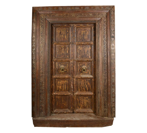 Sierra Living Concepts - Gothic Salvage Teak Wood Double Door & Frame - Our Gothic Collection focuses on traditional elegance and superior craftsmanship. This hand carved double door and casing set is an exciting addition to our collection. The two-door and frame ensemble is built with solid teak wood, a top quality hardwood known for its durability, strength, and beautiful wood grain.