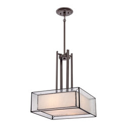 Quoizel - Quoizel FE2816WT Ferndale Pendant Light - Trendy and stylish best describes this great collection.  The Tiffany glass is enveloped within another shade of clear seedy glass.  The versatile Western Bronze finish compliments the overall look of this contemporary group.