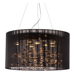Zuo Modern - Zuo Modern Symmetry Ceiling Lamp Black - The Symmetry ceiling lamp creates the illusion of pools of liquid chrome floating under a black lace veil. The ceiling lamp has eight 50W halogen bulbs and is UL approved. The chandelier length can be adjusted for that perfect height.