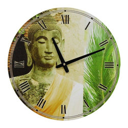 Oriental Furniture - Yellow Draped Buddha Wall Clock - Clock face features a high quality photograph of a traditional Southeast Asian Buddha statue complete with flame top knot, lotus bud hair knots and elongated ear lobes. Buddha image is paired with a vibrant green palm frond to compliment the saffron silk sash the statue wears.