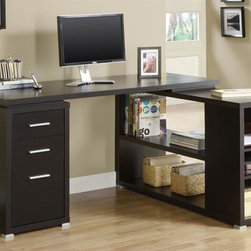 Monarch Specialties - Hollow Core L-Shape Computer Desk - Two medium storage drawers. Lateral file drawer. Clean sharp lines. Shelves can be used for printer or other important items. Silver colored handles. Deep cappuccino finish. Desk: 60 in. W x 23.63 in. D x 29.5 in. H. Return: 47.25 in. W x 23.63 in. D x 29 in. H (141 lbs.)This hollow-core L-shaped computer desk will be a stunning focal point in your contemporary home office. The shell writing desk offers a spacious work surface that is great for doing paperwork or using a computer. Its feet boldly accent the piece making it a must-have for any home.