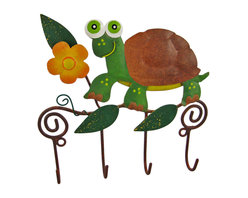 Zeckos - Wall Mounted Turtle Mug / Coat Rack Hanger Tortoise - This beautiful, hand painted 4 hook wall mounted hanger can be used for many different things. In the kitchen, it can be a mug rack for coffee mugs. In the hallway, it's a great place to hang your keys. In the bedroom, hand scarves and other accessories The hanger measures 6 inches by 6 inches, and features a hand painted turtle and flowers. It makes a great housewarming gift.