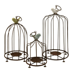 IMAX Worldwide - IMAX Worldwide Louise Birdcage Candleholders (Set of 3) - Add some cheer to garden decor with these fun birdcage pillar candleholders. Iron bars and candle base are topped with brightly colored birds. Set of 3.